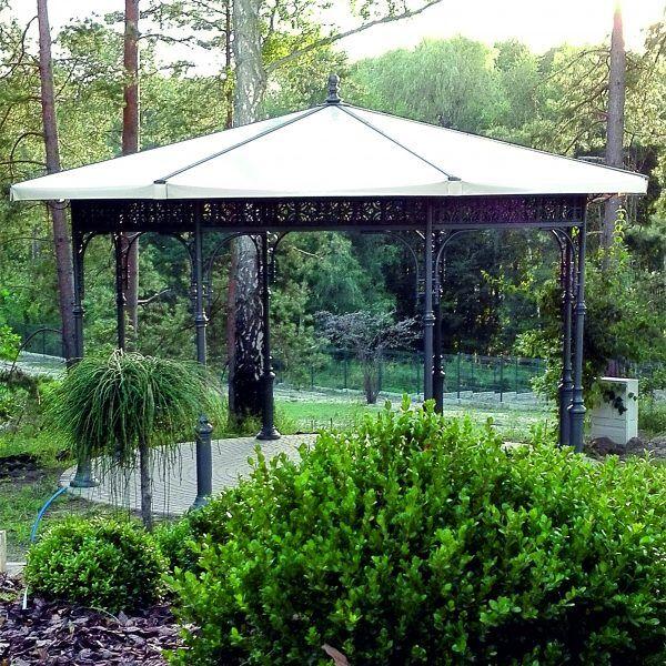Indywidualny projekt altany ogrodowej, Ośmiokątny dach, słupy stalowe, zdobienia aluminiowe. Konstrukcja wytrzymała i wysokiej jakości, antykorozyjna.