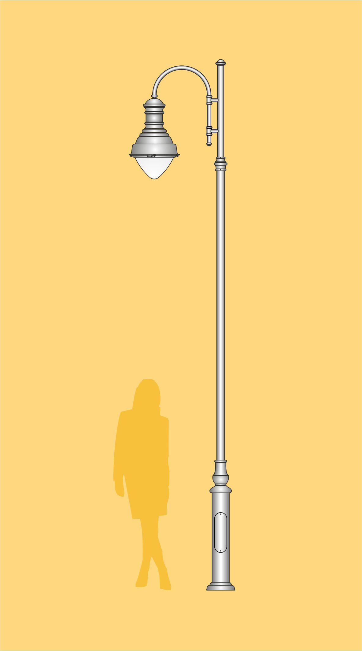 Lampa drogowa LED produkcji , prosty słup oświetleniowy z dekoracyjną oprawą